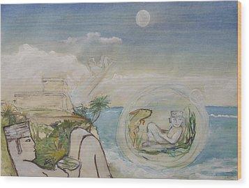 Chacmool Dream Of Tulum Wood Print