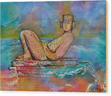 Chacmool Of The Lava Lounge Wood Print by Terri Ana Stokes