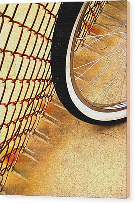 Chain Link Fence Scrapes Concrete Wood Print by John King