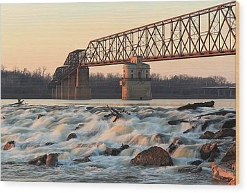 Chain Of Rocks Winter Sunset Wood Print by Scott Rackers