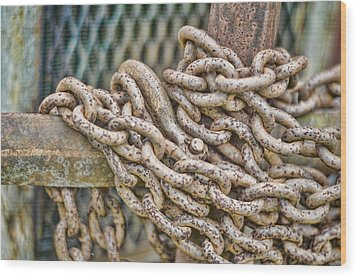 Chained Up Wood Print by Heather Applegate