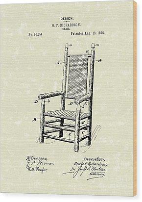 Chair 1895 Patent Art Wood Print by Prior Art Design