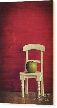 Chair Apple Red Still Life Wood Print by Edward Fielding