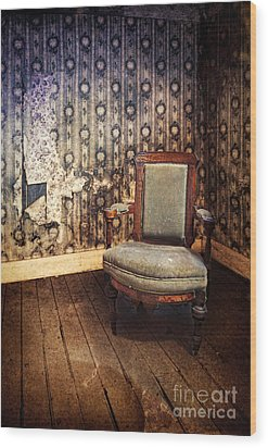 Chair In Abandoned Room Wood Print by Jill Battaglia
