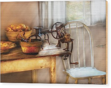 Chair - Kitchen Preparations  Wood Print by Mike Savad
