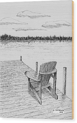 Chair On The Dock Wood Print by Al Intindola