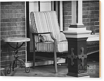 Chair On The Porch Wood Print by John Rizzuto