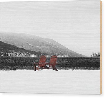 Chairs At Canandaigua Lake 2011 Wood Print by Joseph Duba