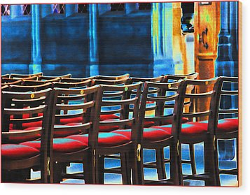 Chairs In Church Wood Print