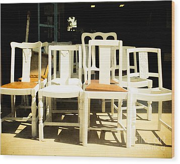 Chairs In White Wood Print by Sonja Quintero