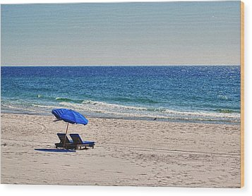 Chairs On The Beach With Umbrella Wood Print by Michael Thomas
