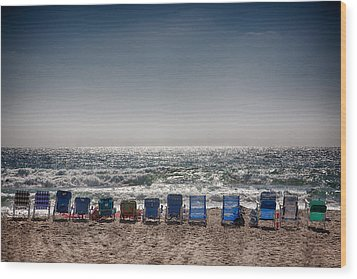 Chairs Watching The Sunset Wood Print by Peter Tellone