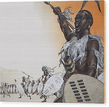 Chaka In Battle At The Head Wood Print by Angus McBride
