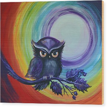 Chakra Meditation With Owl Wood Print by Agata Lindquist