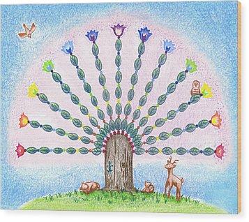 Chakra Tree Wood Print by Keiko Katsuta