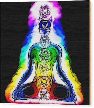 Chakras At Work Wood Print by Mary Burr