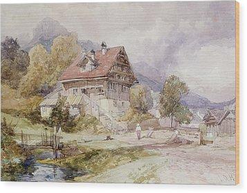 Chalet, Brunnen, Lake Lucerne Wood Print by James Duffield Harding