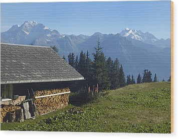 Chalet In The Swiss Alps Bettmeralp Switzerland Wood Print by Matthias Hauser