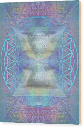 Chalicespheres And Flower Of Life Latticework Wood Print by Christopher Pringer