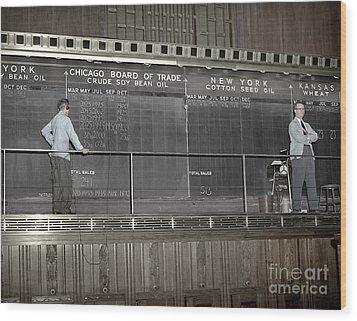 Chalk Board Of Trade 1951 Wood Print by Martin Konopacki Restoration