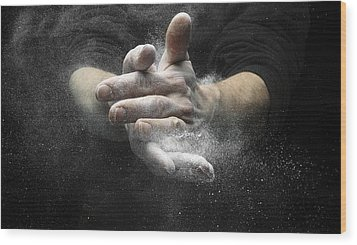 Chalked Hands, High-speed Photograph Wood Print by Science Photo Library