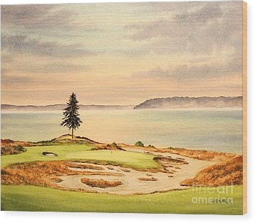 Wood Print featuring the painting Chambers Bay Golf Course Hole 15 by Bill Holkham