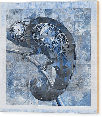 Chameleon - Blue 01b02 Wood Print by Variance Collections