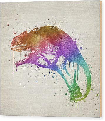 Chameleon Splash Wood Print by Aged Pixel