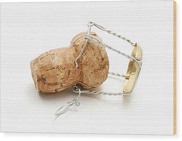 Champagne Cork Stopper Wood Print by Fabrizio Troiani