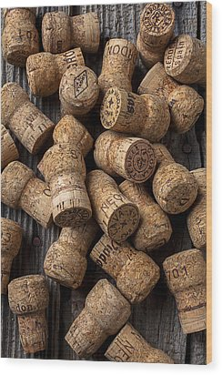 Champagne Corks Wood Print by Garry Gay