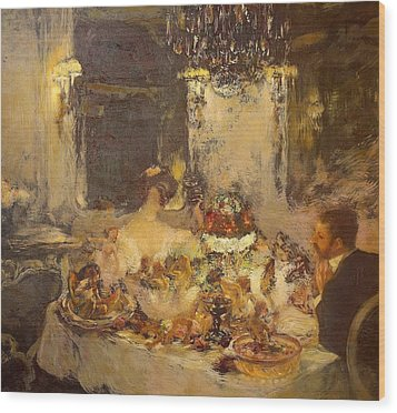 Champagne Wood Print by Gaston La Touche