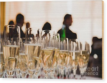 Champagne Glasses At The Party Wood Print by Michal Bednarek