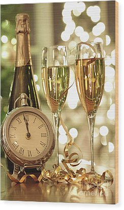 Champagne Glasses Ready To Bring In The New Year Wood Print by Sandra Cunningham