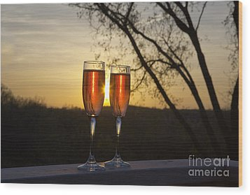 Champagne Sunset Wood Print by Kay Pickens