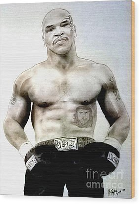 Champion Boxer And Actor Mike Tyson Wood Print by Jim Fitzpatrick