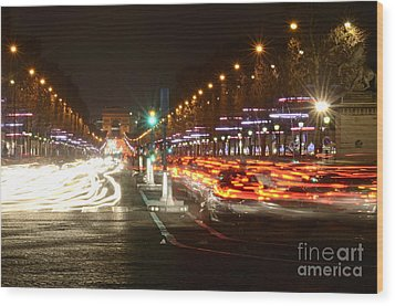 Champs-elysees And Arc De Triomphe Wood Print by Sami Sarkis
