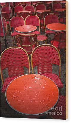 Champs Elysees Cafe Wood Print by Inge Johnsson