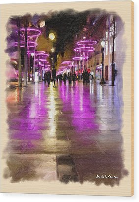 Champs Elysees In Pink Wood Print by Angela A Stanton