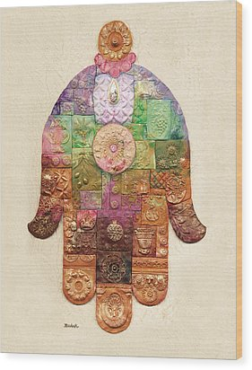 Chamsa Wood Print by Michoel Muchnik
