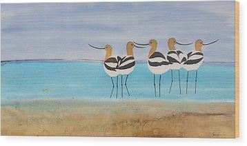 Chance Encounter At The Beach Wood Print by Carolyn Doe