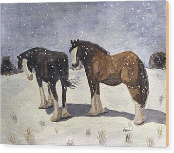 Wood Print featuring the painting Chance Of Flurries by Angela Davies