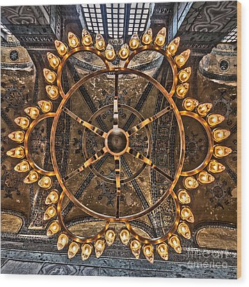 Chandelier At Hagia Sophia Wood Print