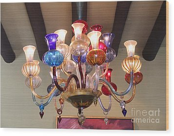 Chandelier At The Hotel California Wood Print by Linda Queally