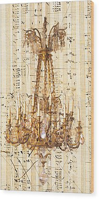 Chandelier With Franz Liszt Music Score Wood Print by Suzanne Powers