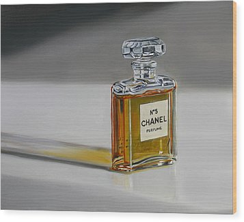Wood Print featuring the painting Chanel No 5 by Gail Chandler