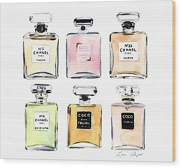 Chanel Perfumes Wood Print by Laura Row Studio
