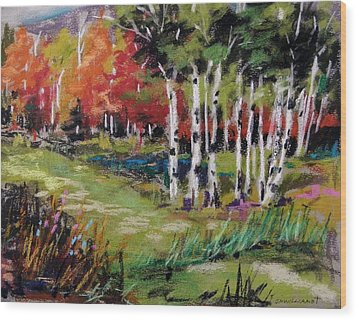 Wood Print featuring the painting Changing Birches by John Williams