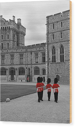 Changing Of The Guard At Windsor Castle Wood Print by Lisa Knechtel