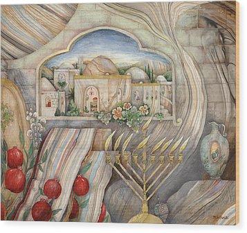 Chanukah Wood Print by Michoel Muchnik