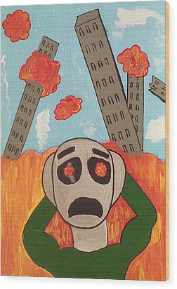 Chaos Wood Print by Lew Griffin